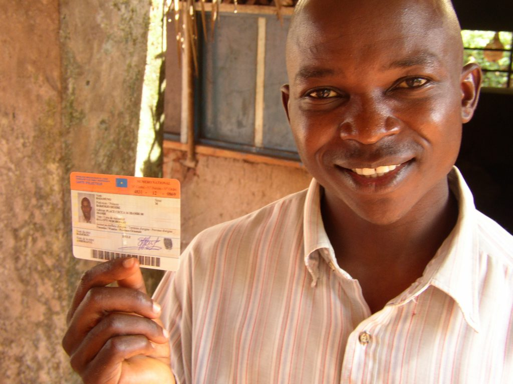 Dilo with his voter ID card