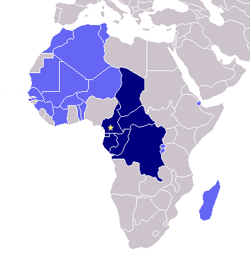 Francophone countries in blue; LST works in darker  blue countries